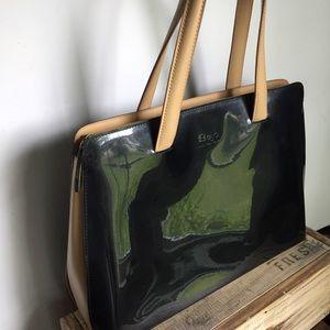 Beijo black patent leather large bag